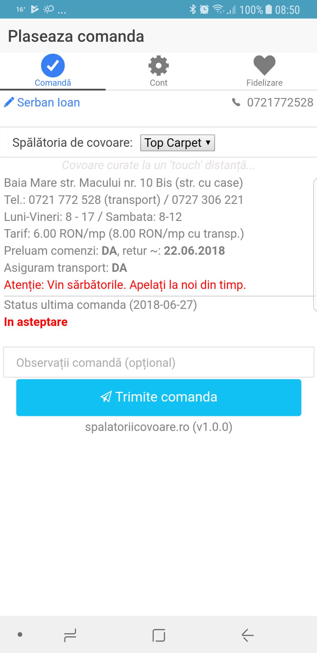 Aplicatie pentru spalatoriile de covoare - Android